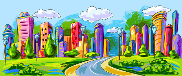 Creative illustrated city skyline