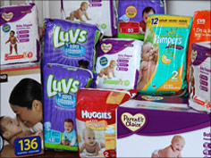 Stock of donated diapers