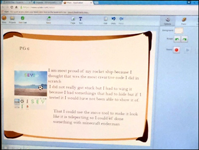 sample student reflection in Wixie