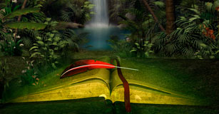 Illustration of book and magical forest