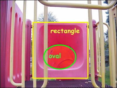 image of shapes identified on playground equipment