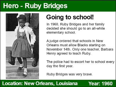 panel one of a student-created trading card about Ruby Bridges