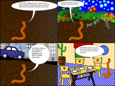 overview of a student-created comic on soil