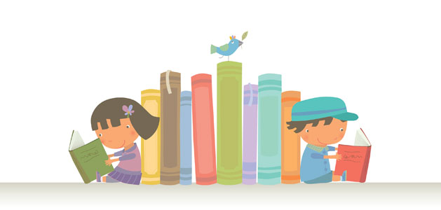image of kids reading on each side of a shelf of books.