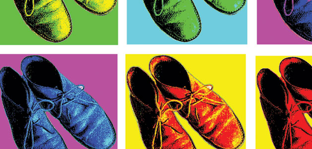 image close up of a pop art montage with shoes