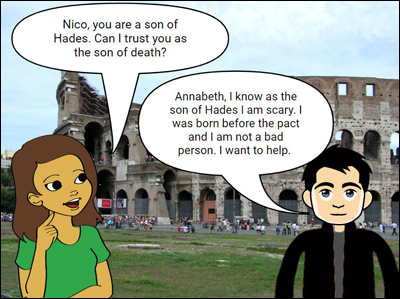 sample conversation between Annabeth and Nico in Percy Jackson series