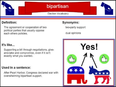 sample of student-created vocabulary card for the term bipartisan