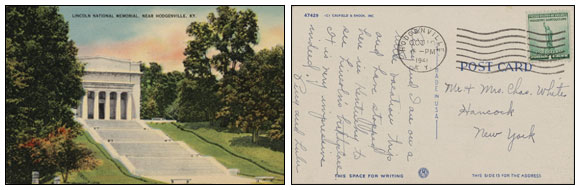 sample of historical postcard from the Library of Congress