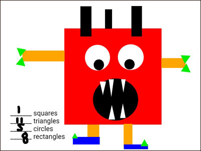 image of student-created monster built from triangles, squares, circles, and rectangles