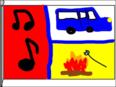 student-created flag for family in blue and red with bus, campfire, and music notes