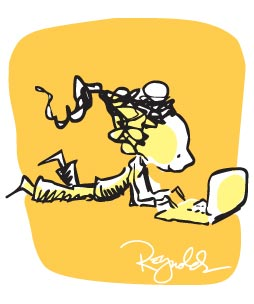 cartoon girl with laptop creating
