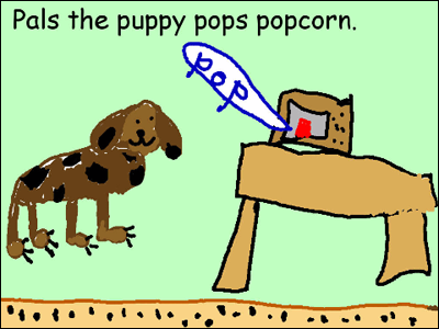 Pals the puppy pops popcorn.