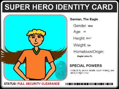 Sample super hero ID card