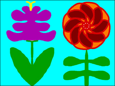 sample of symmetrical flowers drawn by student